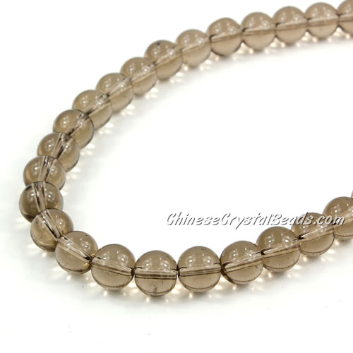 Chinese 8mm Round Glass Beads gray, hole 1mm, about 42pcs per strand