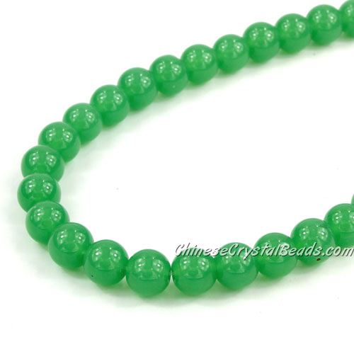 Chinese 8mm Round Glass Beads green jade, hole 1mm, about 42pcs per strand