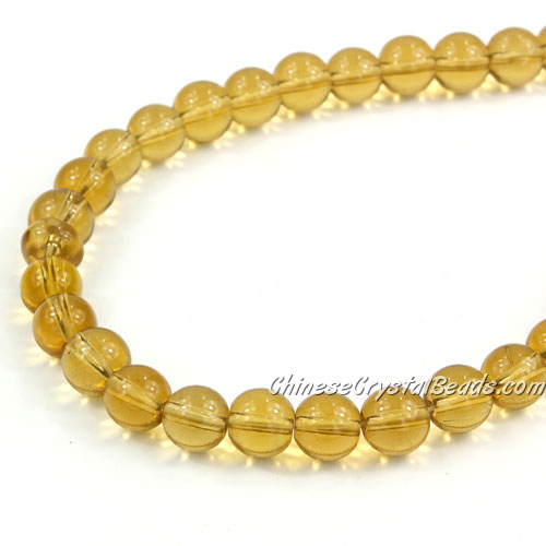 Chinese 8mm Round Glass Beads light Amber, hole 1mm, about 42pcs per strand