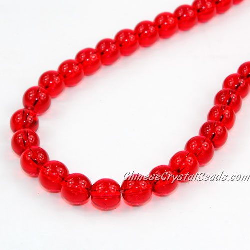 Chinese 8mm Round Glass Beads lt. siam, hole 1mm, about 42pcs per strand