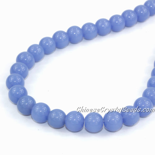 Chinese 8mm Round Glass Beads med sapphire jade, hole 1mm, about 42pcs per strand