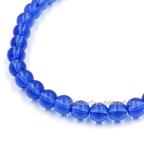 Chinese 8mm Round Glass Beads med sapphire, hole 1mm, about 42pcs per strand
