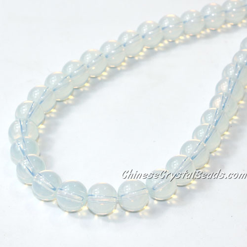 Chinese 8mm Round Glass Beads opal, hole 1mm, about 42pcs per strand