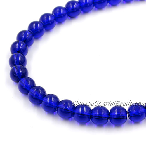 Chinese 8mm Round Glass Beads sapphire, hole 1mm, about 42pcs per strand
