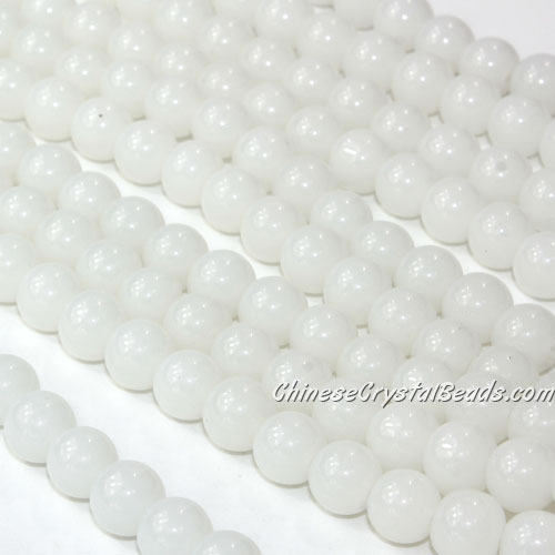 Chinese 8mm Round Glass Beads white jade, hole 1mm, about 42pcs per strand