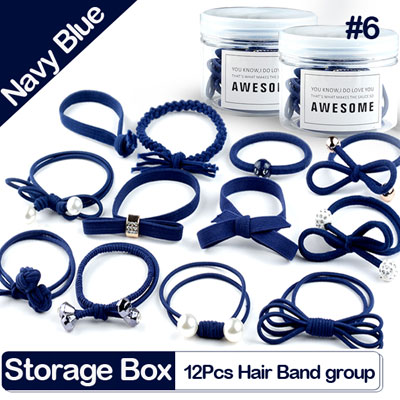 12Pcs Mix hair tie band , 6 color sets you can choose