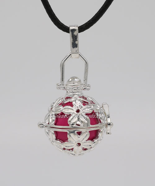 "Rose Flower Harmony Ball Pendant Women Necklace with 30""Chain For Pregnant Women, silver plated brass, 1pc"