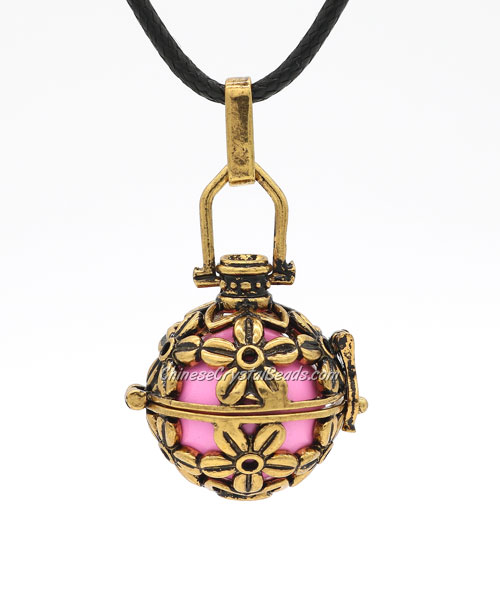 "Rose Flower Harmony Ball Pendant Women Necklace with 30""Chain For Pregnant Women, antique copper plated brass, 1pc"