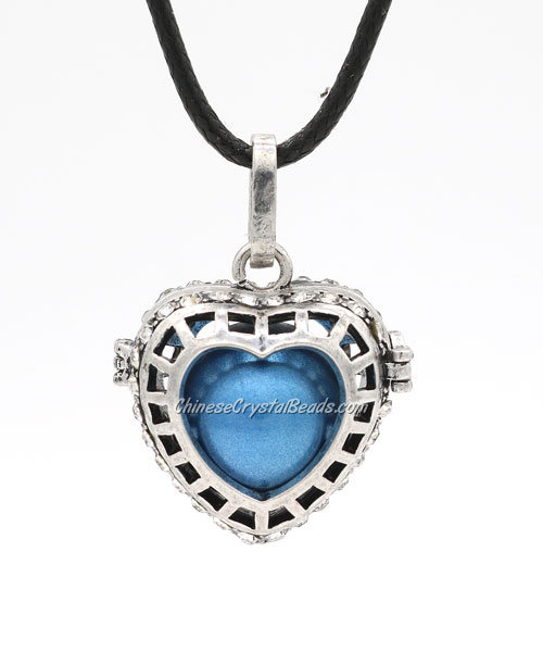 Heart pave blue crystal Harmony Ball Pendant Women Necklace, antique silver plated brass, 1pc