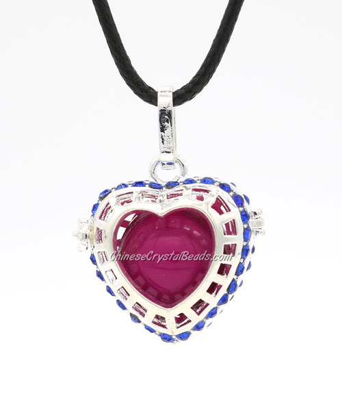 Heart pave blue crystal Harmony Ball Pendant Women Necklace, silver plated brass, 1pc