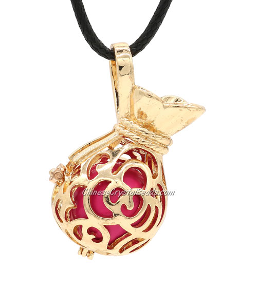 Lucky Bag Harmony Ball Mexican Bola Pregnancy Chime Baby Necklace Pendants, kc gold plated brass, 1pc
