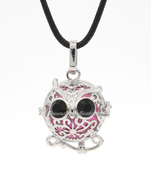 Owl Harmony Ball Mexican Bola Pregnancy Chime Baby Necklace Pendants, platinum plated brass, 1pc