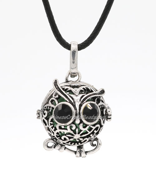 Owl Harmony Ball Mexican Bola Pregnancy Chime Baby Necklace Pendants, antique silver plated brass, 1pc