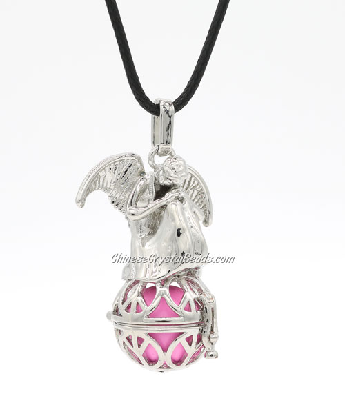 Angel wings Harmony Bola Angel Caller Balls Baby Chime Sounding Chime Ball Necklace, platinum plated, 1 pc