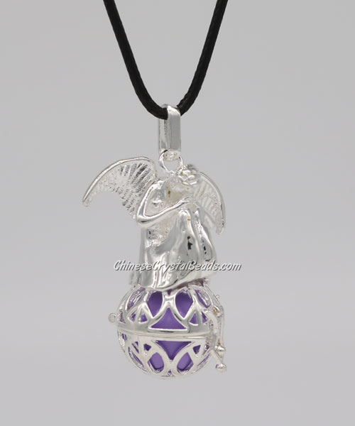 Angel wings Harmony Bola Angel Caller Balls Baby Chime Sounding Chime Ball Necklace, silver plated, 1 pc
