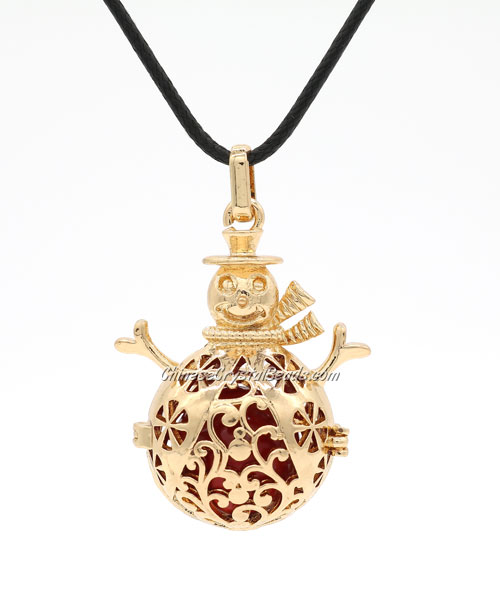 Snowman Mexican Bolas Harmony Ball Pendant Angel Baby Caller Chime Bell, KC gold plated brass, 1pc