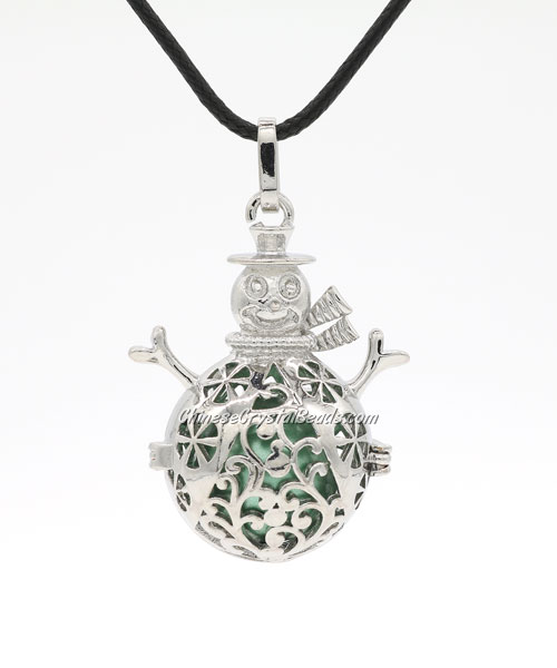 Snowman Mexican Bolas Harmony Ball Pendant Angel Baby Caller Chime Bell, platinum plated brass, 1pc