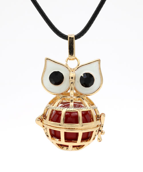 Owl Mexican Bolas Harmony Ball Pendant Angel Baby Caller Chime Bell, KC gold plated brass, 1pc