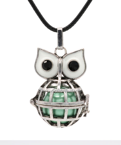 Owl Mexican Bolas Harmony Ball Pendant Angel Baby Caller Chime Bell, antique silver plated brass, 1pc