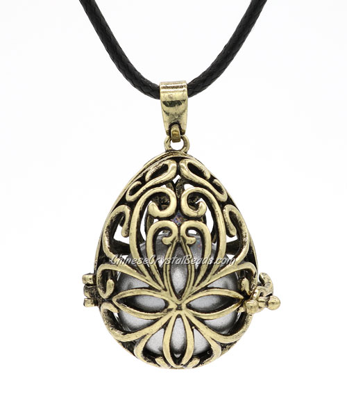 "Egg flower Harmony Ball Pendant Women Necklace with 30""Chain For Pregnant Women, antique bronze plated brass, 1pc"