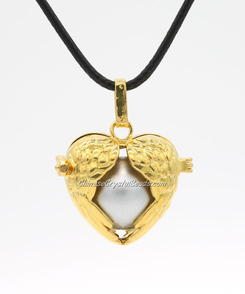 "Heart wing Harmony Ball Pendant Women Necklace with 30""Chain For Pregnant Women, gold plated brass, 1pc"