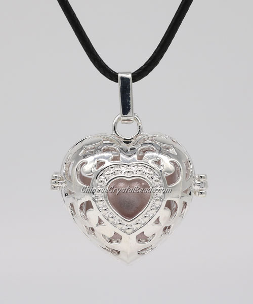 "Heart Harmony Ball Pendant Women Necklace with 30""Chain For Pregnant Women, silver plated brass, 1pc"