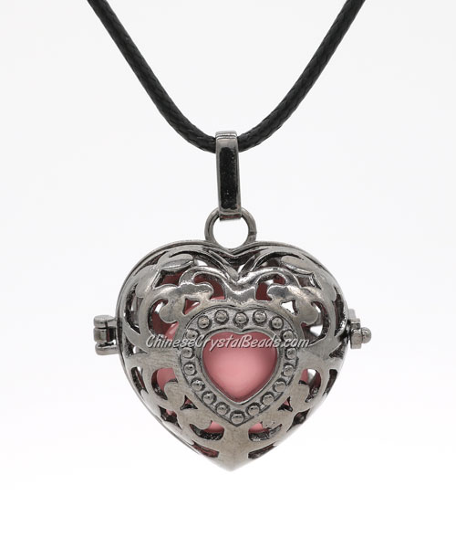 "Heart Harmony Ball Pendant Women Necklace with 30""Chain For Pregnant Women, gunmetal plated brass, 1pc"