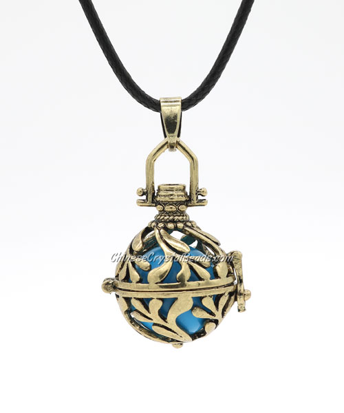 "Harmony Ball Pendant Women Necklace with 30""Chain For Pregnant Women, antique bronze plated brass, 1pc"
