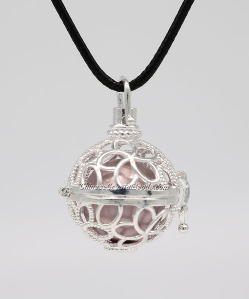 flower Mexican Bolas Harmony Ball Pendant Angel Baby Caller Chime Bell, silver plated brass, 1pc