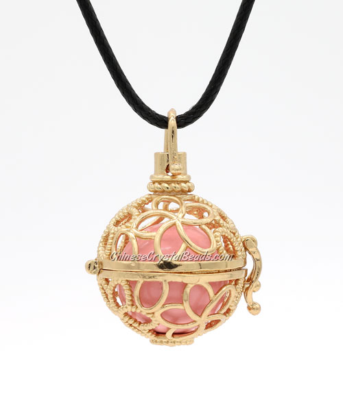 flower Mexican Bolas Harmony Ball Pendant Angel Baby Caller Chime Bell, gold plated brass, 1pc