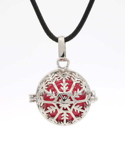 Snowflake Mexican Bolas Harmony Ball Pendant Angel Baby Caller Chime Bell, platinum plated brass, 1pc