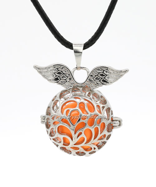 Angel wings Mexican Bolas Harmony Ball Pendant Angel Baby Caller Chime Bell, platinum plated brass, 1pc