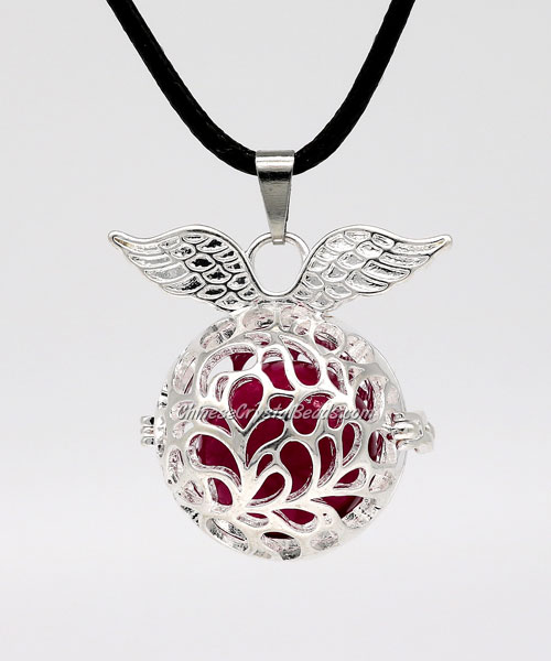 Angel wings Mexican Bolas Harmony Ball Pendant Angel Baby Caller Chime Bell, silver plated brass, 1pc