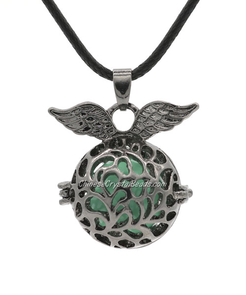 Angel wings Mexican Bolas Harmony Ball Pendant Angel Baby Caller Chime Bell, gunmetal plated brass, 1pc