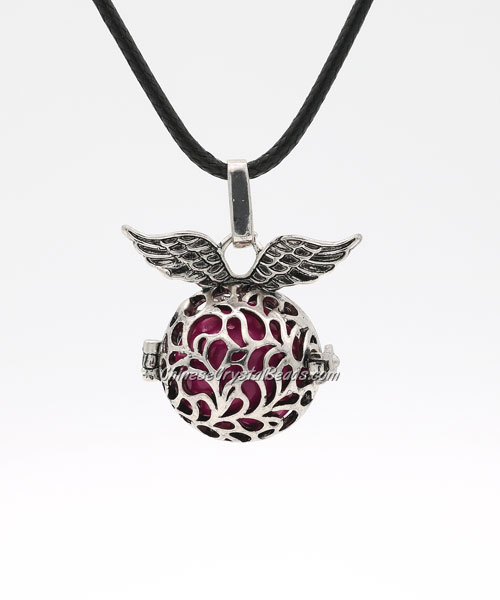 "Angel wings Harmony Ball Pendant Women Necklace with 30""Chain For Pregnant Women, antique silver plated brass, 1pc"