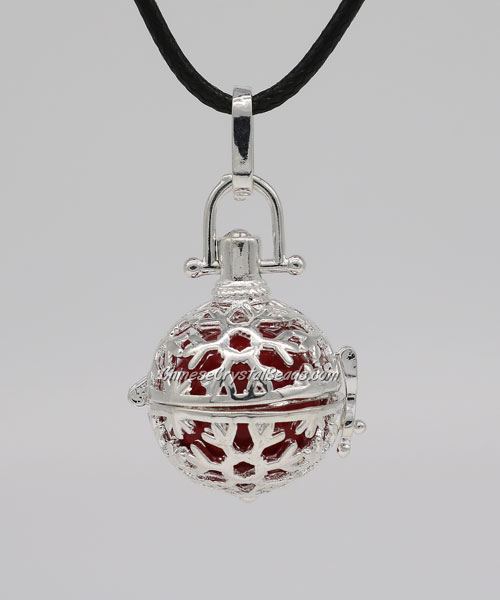 "Snowflake Harmony Ball Pendant Women Necklace with 30""Chain For Pregnant Women, silver plated brass, 1pc"