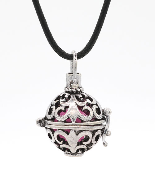 Mexican Bolas Harmony Ball Pendant Angel Baby Caller Chime Bell, antique silver plated brass, 1pc