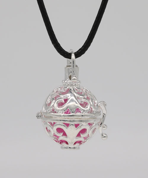 Mexican Bolas Harmony Ball Pendant Angel Baby Caller Chime Bell, silver plated brass, 1pc
