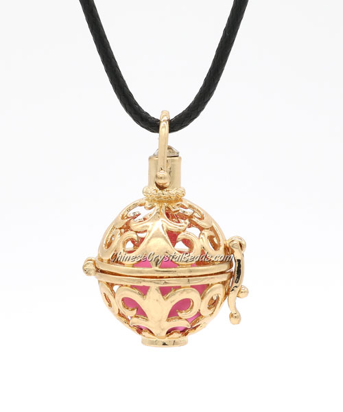 Mexican Bolas Harmony Ball Pendant Angel Baby Caller Chime Bell, kc gold plated brass, 1pc