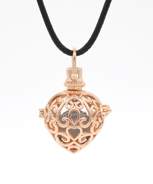 Heart Shape Harmony Ball Pendant Angel Baby Caller Chime Bell, rose gold plated brass, 1pc