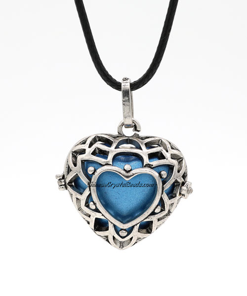 heart shape harmony ball necklace Mexican bola ball angel caller, antique silver plated brass, 1pc