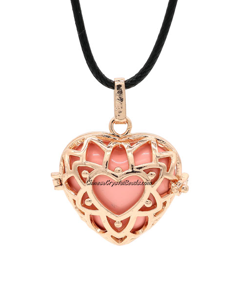 heart shape harmony ball necklace Mexican bola ball angel caller, rose gold plated brass, 1pc