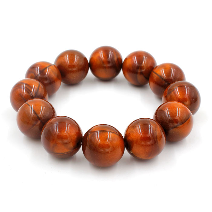 Imitation ABS Cat Eye's Beads Bracelet, brown, inside diameter:16.5cm