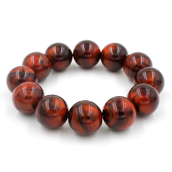 Imitation ABS Cat Eye's Beads Bracelet, orange, inside diameter:16.5cm