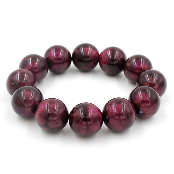 Imitation ABS Cat Eye's Beads Bracelet, purple, inside diameter:16.5cm