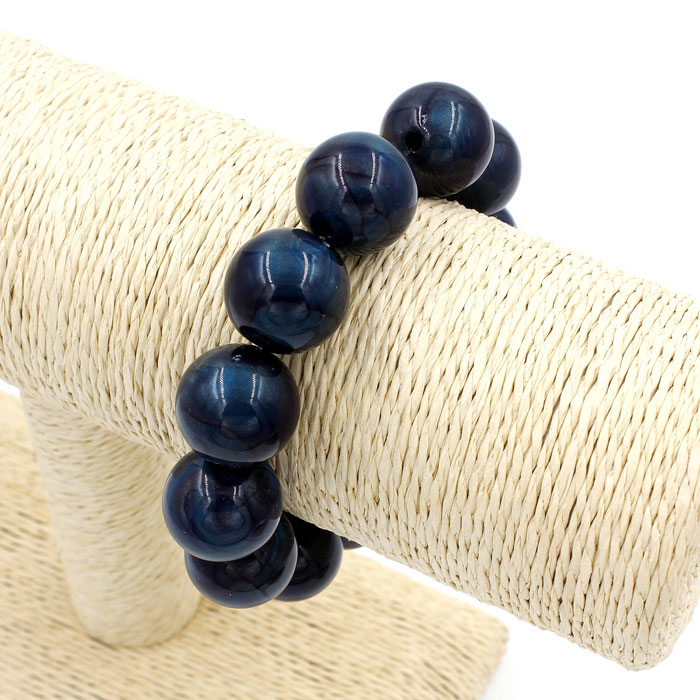 Imitation ABS Cat Eye's Beads Bracelet, blue color, inside diameter:16.5cm