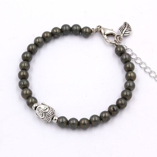 6mm round pyrite beads bracelet memory wire bracelet, 1pc