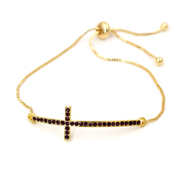 Adjustable bracelet, purple cross charm, 1pc