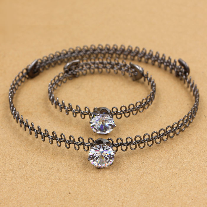90's Tatto Choker sets, AAA 12mm Zircon crystal stones, gunmetal color,1 pc