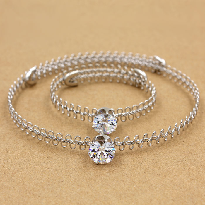 90's Tatto Choker sets, AAA 12mm Zircon crystal stones, silver color,1 pc